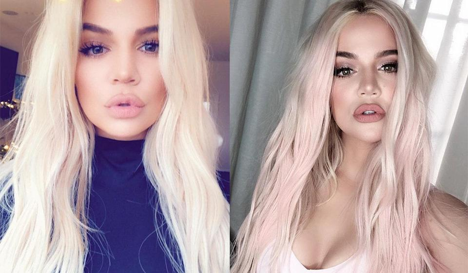 """Khloé too went pink late in 2018 after some dabbling in <a href=""""https://www.glamour.com/gallery/platinum-blonde-hair-products-reviews?mbid=synd_yahoo_rss"""" rel=""""nofollow noopener"""" target=""""_blank"""" data-ylk=""""slk:platinum"""" class=""""link rapid-noclick-resp"""">platinum</a>. Khloé's 2019 version, though, was far softer, and much easier to copy at home. (Her hairstylist Andrew Fitzsimons used <a href=""""https://www.ulta.com/colorista-1-day-spray?productId=xlsImpprod16891009"""" rel=""""nofollow noopener"""" target=""""_blank"""" data-ylk=""""slk:L'Oréal's Colorista 1-Day Spray"""" class=""""link rapid-noclick-resp"""">L'Oréal's Colorista 1-Day Spray</a>.)"""