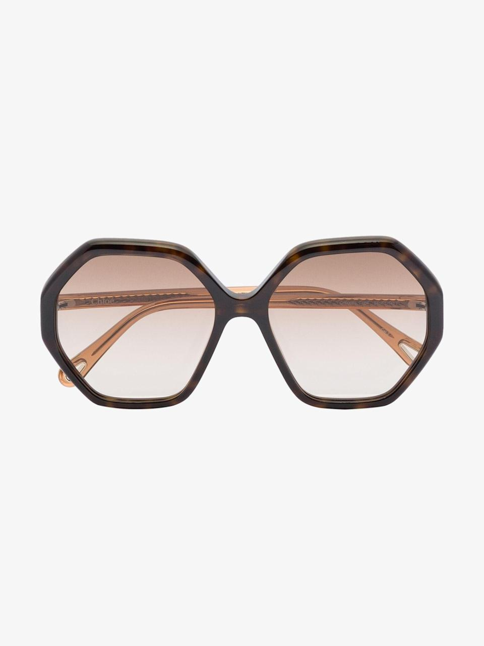 """<br><br><strong>Chloé Eyewear</strong> Brown Esther Hexagonal Sunglasses, $, available at <a href=""""https://go.skimresources.com/?id=30283X879131&url=https%3A%2F%2Fwww.brownsfashion.com%2Fshopping%2Fchloe-eyewear-brown-esther-hexagonal-sunglasses-16330876"""" rel=""""nofollow noopener"""" target=""""_blank"""" data-ylk=""""slk:Browns"""" class=""""link rapid-noclick-resp"""">Browns</a>"""