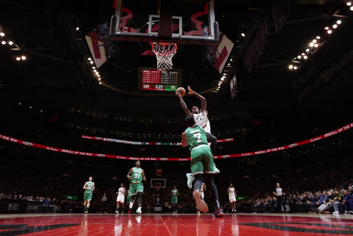 TORONTO, CANADA - FEBRUARY 26: Pascal Siakam #43 of the Toronto Raptors shoots the ball against the Boston Celtics on February 26, 2019 at the Scotiabank Arena in Toronto, Ontario, Canada. (Photo by Mark Blinch/NBAE via Getty Images)