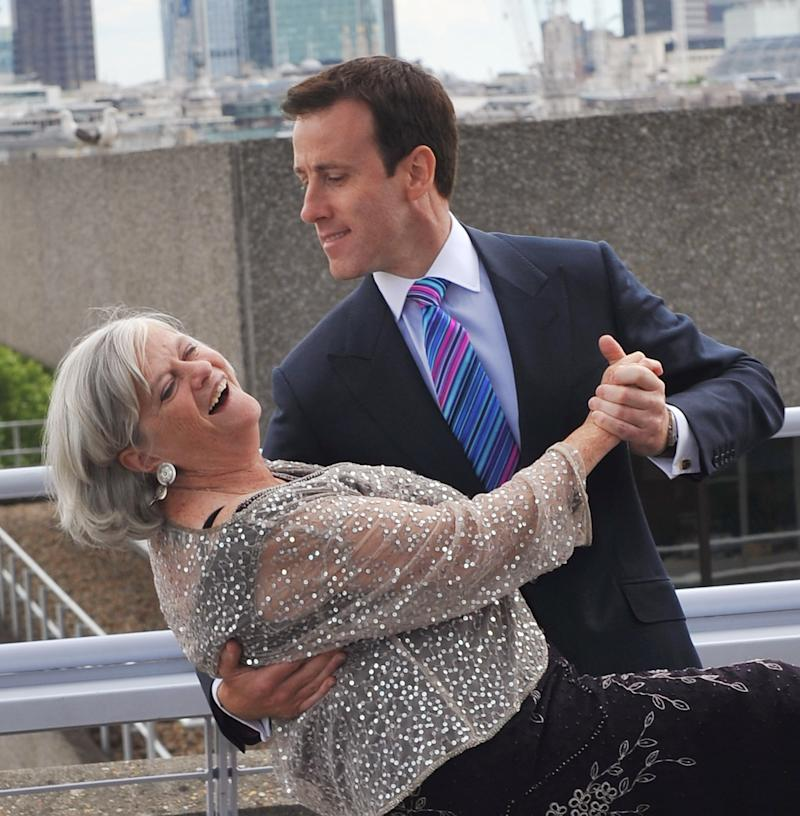 LONDON, ENGLAND - JUNE 09: Ann Widdecombe and Anton du Beke launch BUPA's campaign 'Shall We Dance?' at The National Theatre on June 9, 2011 in London, England. (Photo by Ferdaus Shamim/WireImage)