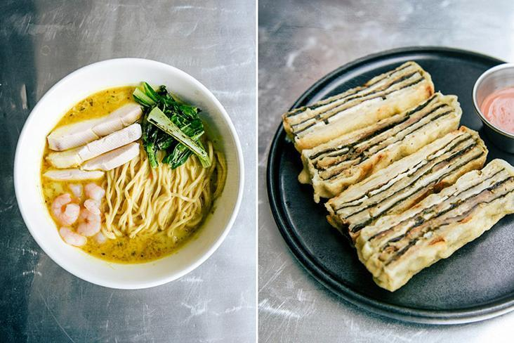 Fifty Tales' signature laksa (left) and eggplant with a 'nam yu' dip (right).