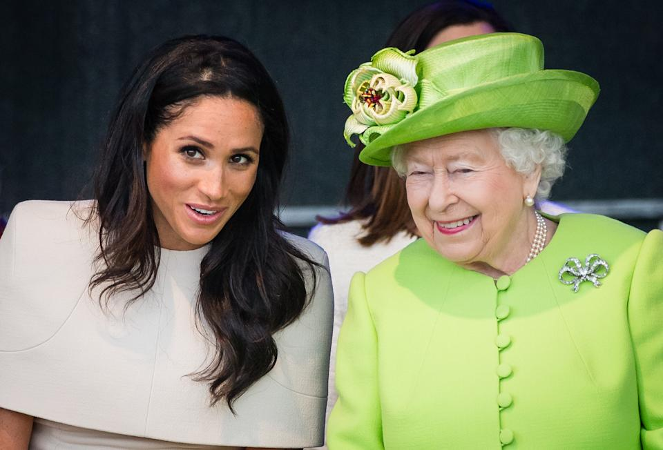 WIDNESS, ENGLAND - JUNE 14:  Meghan, Duchess of Sussex and Queen Elizabeth II open the new Mersey Gateway Bridge on June 14, 2018 in Widness, England.  (Photo by Samir Hussein/Samir Hussein/WireImage)