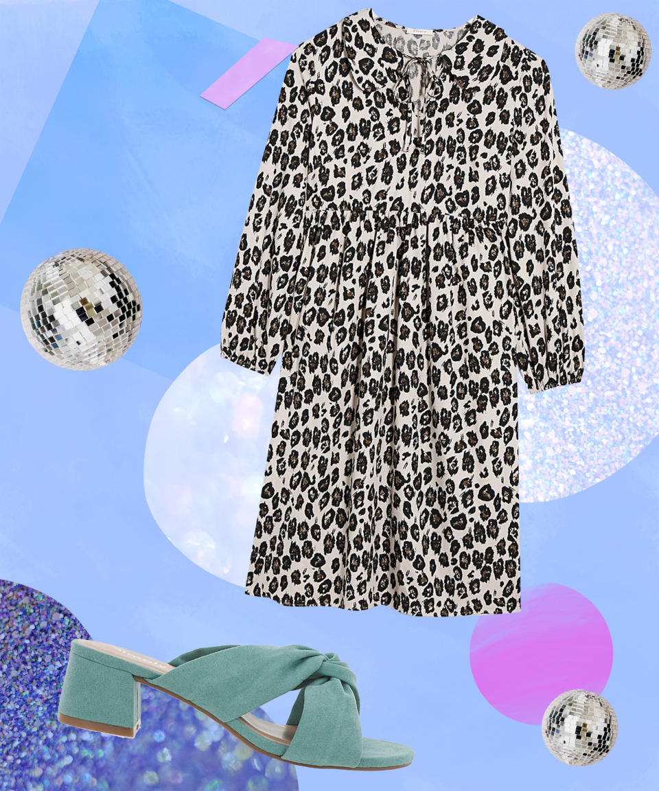 """<strong>Sunset At The Rooftop Bar</strong><br><br>All hail the ever-versatile leopard print! Animal print is a trend that never goes out of style. A variety of prints crop up on the catwalks year after year but this summer there has been a resurgence of true fashion maximalism. <br><br>This leopard-print cotton midi dress by celeb-fave brand Finery is available in sizes 10-26 and has a relaxed, gathered waistline that will keep you cool on balmy summer evenings. <br><br>Team this dress with a pair of mint-green knotted mules for a bold, feminine-casual look that'll have heads turning into the night.<br><br><strong>Simply Be</strong> Calais Knotted Block Heel Mules Extra Wide Fit, $, available at <a href=""""https://www.simplybe.co.uk/shop/calais-knotted-block-heel-mules-extra-wide-fit/sb279/product/details/show.action"""" rel=""""nofollow noopener"""" target=""""_blank"""" data-ylk=""""slk:Simply Be"""" class=""""link rapid-noclick-resp"""">Simply Be</a><br><br><strong>Finery London</strong> Finery London Rosanna Leopard Dress, $, available at <a href=""""https://www.simplybe.co.uk/shop/finery-london-rosanna-leopard-dress/hg920/product/details/show.action"""" rel=""""nofollow noopener"""" target=""""_blank"""" data-ylk=""""slk:Simply Be"""" class=""""link rapid-noclick-resp"""">Simply Be</a>"""