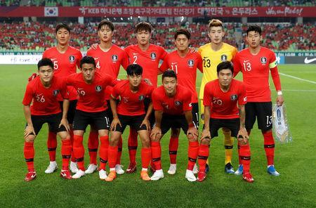 Soccer Football - International Friendly - South Korea vs Honduras - Daegu Stadium, Daegu, South Korea - May 28, 2018 South Korea players pose for a team group photo before the match REUTERS/Kim Hong-Ji