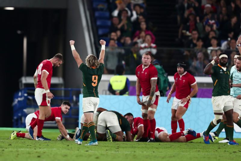 South Africa's scrum-half Faf de Klerk celebrates after South Africa's centre Damian De Allende scored a try. (Credit: Getty Images)
