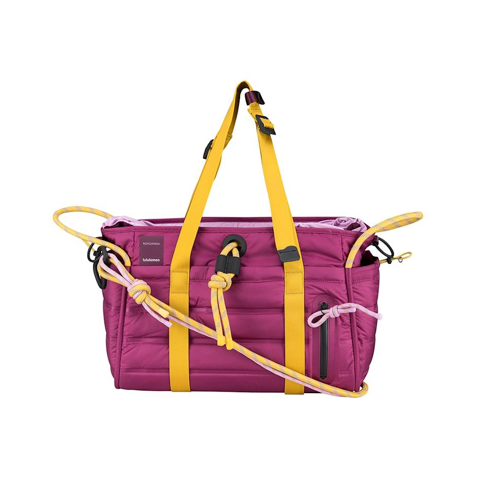 """Pretty colors + waterproof material + laptop sleeve + adjustable handles = the stuff gym-bag dreams are made of. This <a href=""""https://shop.lululemon.com/c/lululemon-x-roksanda/"""" rel=""""nofollow"""">Lululemon x Roksanda</a> bag may be a little pricey, but it's worth the splurge—especially since it's a limited-edition collaboration. $228, Lululemon. <a href=""""https://shop.lululemon.com/p/lululemon-x-roksanda/Face-Forward-Duffel/_/prod9600650?"""">Get it now!</a>"""