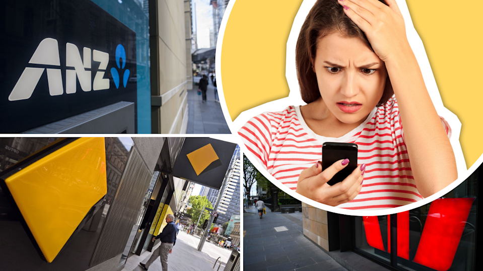 Pictured: ANZ, CommBank, Westpac logos. Woman looking at phone, shocked.