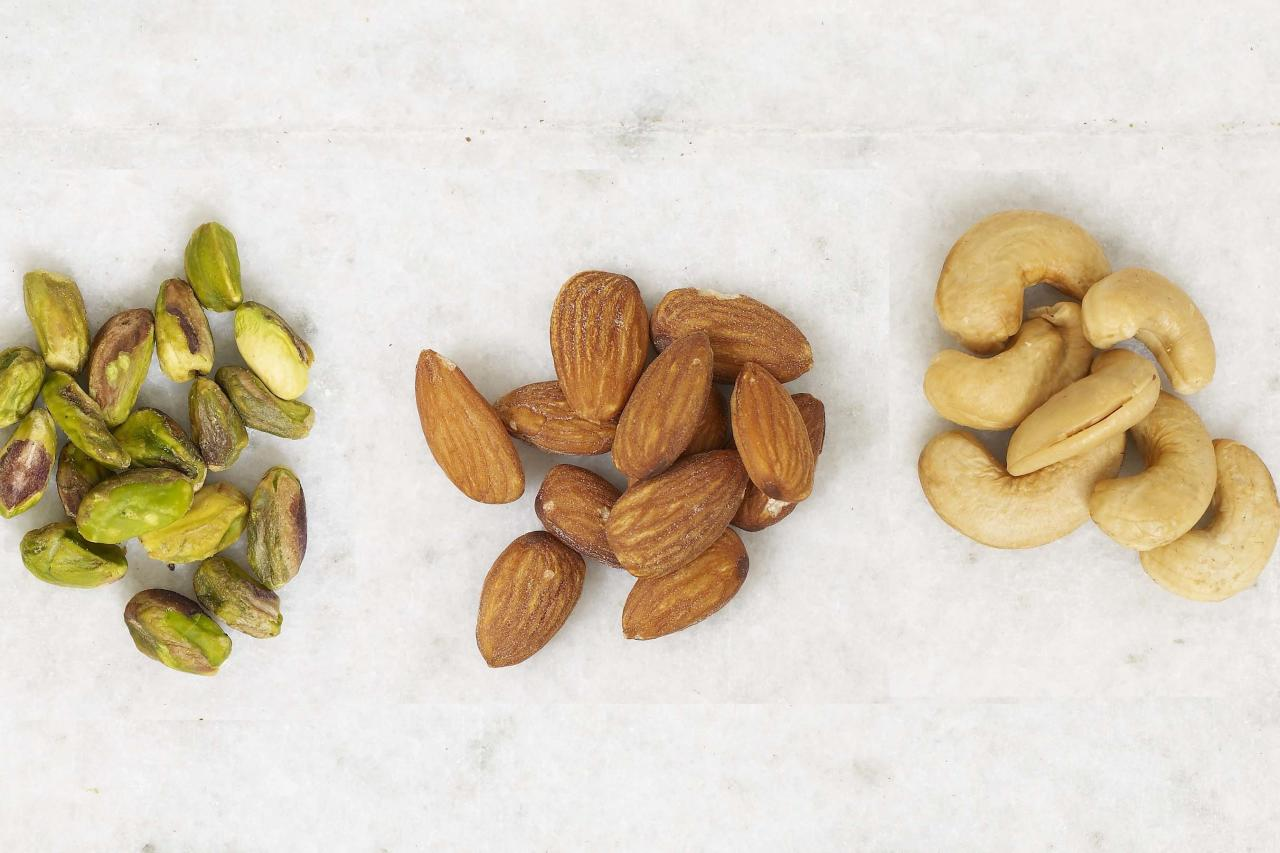 """<p><i>Almonds, Cashews, Pistachios</i></p> <p> All nuts are about equal in terms of calories per ounce, and in moderation, are all healthy additions to any diet. """"Their mix of omega-3 fatty acids, protein, and fiber will help you feel full and suppress your appetite,"""" says Judy Caplan, RD, a spokesperson for the Academy of Nutrition and Dietetics.</p> <p> The lowest-calorie nuts at 160 per ounce are almonds (23 nuts; 6 grams protein, 14 grams fat); cashews (16 to 18 nuts; 5 grams protein, 13 grams fat); and pistachios (49 nuts; 6 grams protein, 13 grams fat). Avoid nuts packaged or roasted in oil; instead, eat them raw or dry roasted, says Caplan. (Roasted nuts may have been heated in hydrogenated or omega-6 unhealthy fats, she adds, or to high temperatures that can destroy their nutrients.)</p> <p><b>Watch the video: <a href=""""https://www.health.com/health/video/0,,20824211,00.html"""">Honey-and-Chili Glazed Almonds</a></b></p>"""