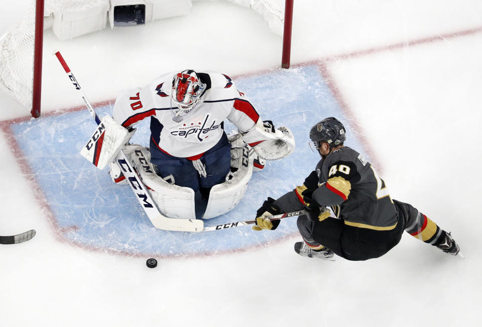 Braden Holtby's remarkable stick save late in Game 2 clinched a 3-2 win for the Capitals and could end up securing his place in team lore. (AP)