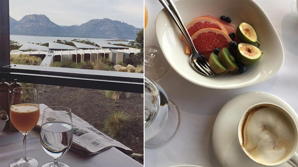 Breakfast is served in the dining room each morning overlooking the incredible view of The Hazards. Photo: Lucy-Mae Beers