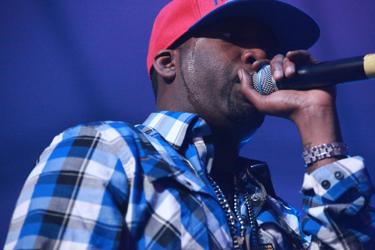 Tony Yayo joins 50 Cent on stage for his performance at the Bud Light Hotel concert.
