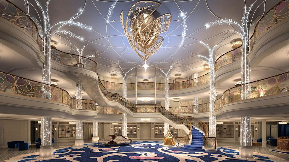 <p>Aboard the Disney Wish, the Grand Hall will come to life every evening with dramatic show lighting, glittering trails of pixie dust and shimmering chandelier effects. This fairytale-inspired atrium will be the enchanted gateway to everything that awaits on board the ship: fairytale worlds, heroic challenges, epicurean indulgences, thrilling adventures, galactic encounters, peaceful escapes and so much more. (Disney)</p>