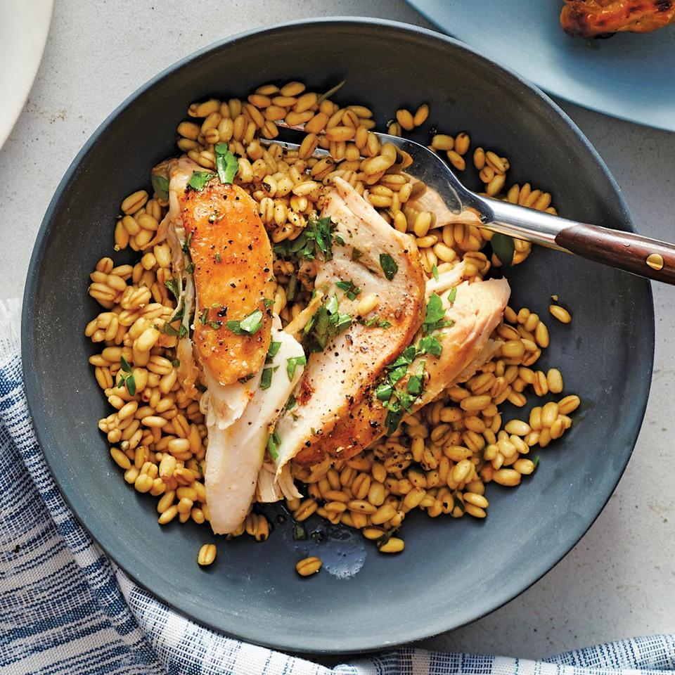 <p>Pair earthy, toothsome barley with tender chicken dressed in a tangy white balsamic vinaigrette for a hearty main dish. This Instant Pot chicken recipe comes together in just 40 minutes, making it perfect for easy weeknight dinners.</p>