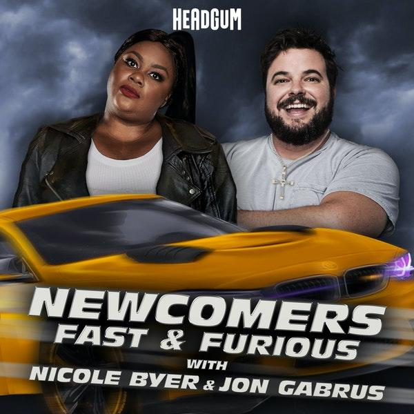 Nicole Byer and Jon Gabrus co-host the Fast & Furious-themed season of the Newcomers podcast. (Photo: Headgum)
