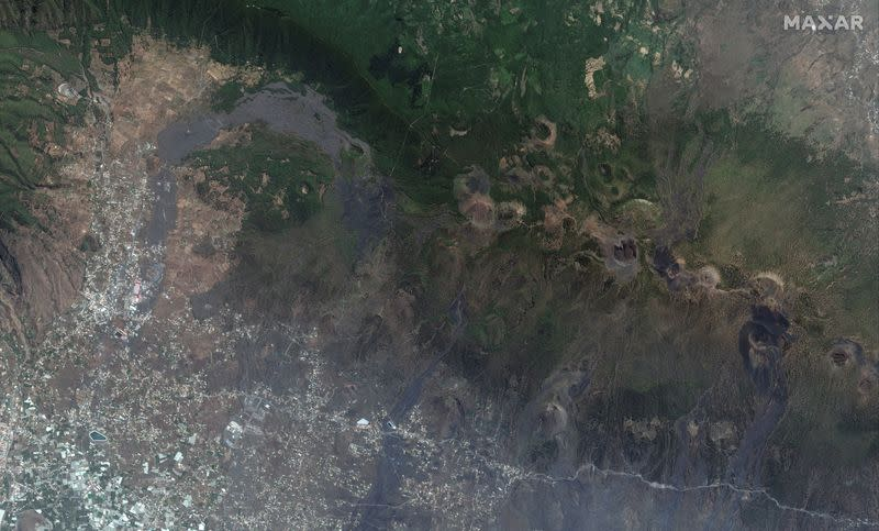 A satellite image shows the a closer view of Cumbre Vieja volcano and the cinder cones on the island of La Palma, Spain on September 17, 2021 before the eruptions volcano