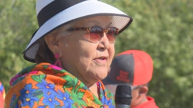 Ruth Scalp Lock speaks about her experience at the Crowfoot Indian Residential School. (Terri Trembath/CBC - image credit)
