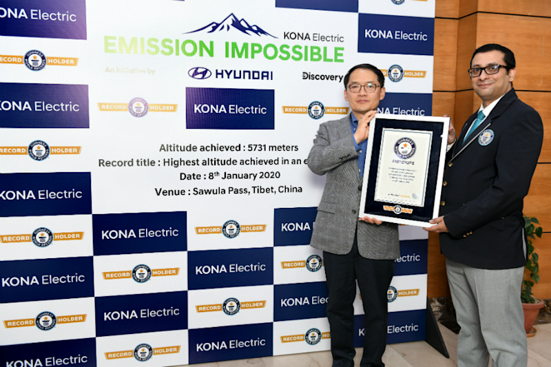 Hyundai Kona Electric Beats World Record, Becomes First Electric SUV to Reach 5,731 Meters Altitude