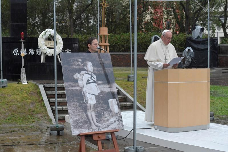 Pope Francis visits the Atomic Bomb Hypocenter Park in Nagasaki