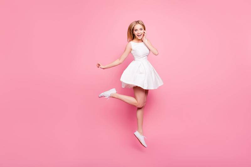 Lovely elegant dancer holiday spring summer celebrate rest relax goal achievement hairstyle trendy stylish amazed people concept. Portrait of cute sweet harming girl jumping up isolated on background