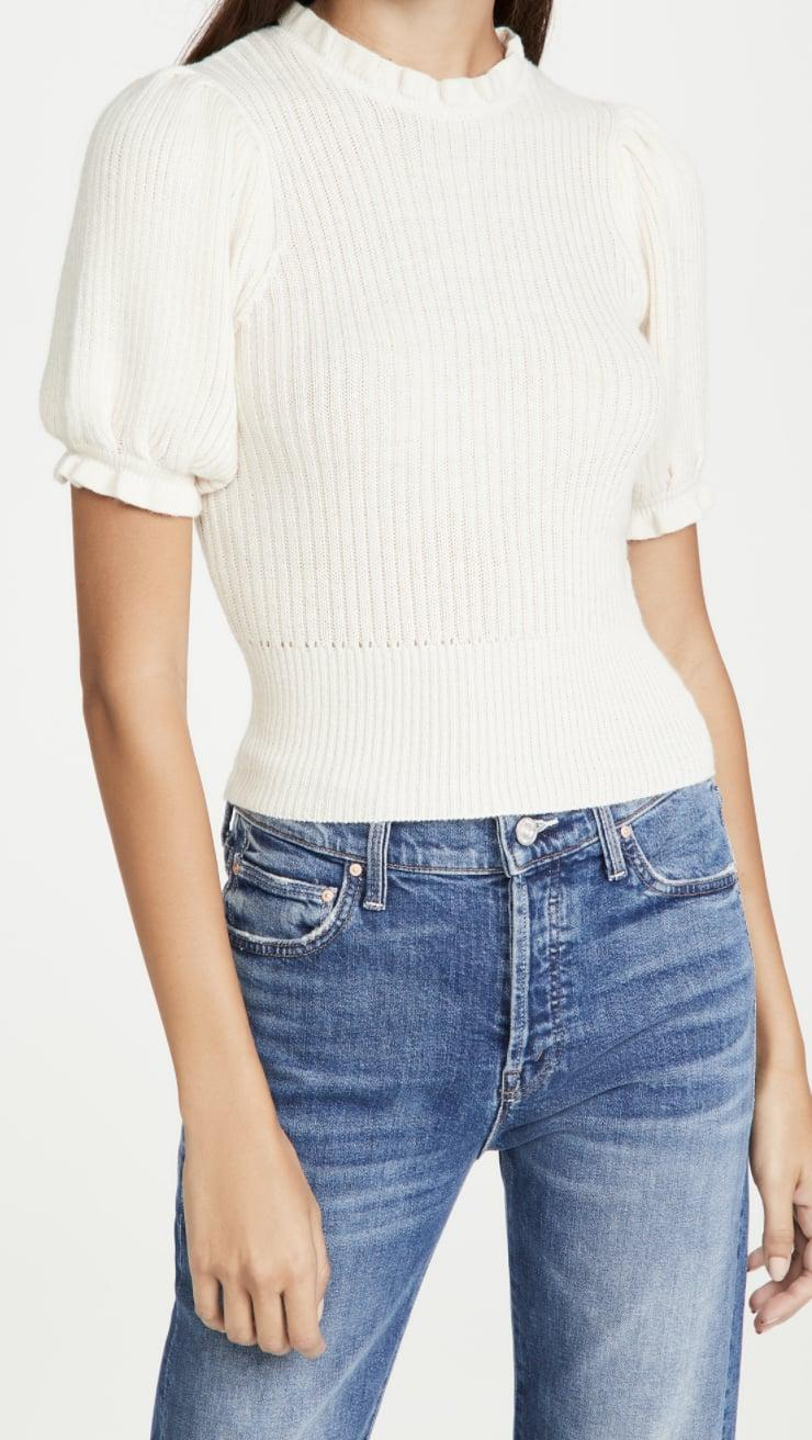 <p>The ruffles and cropped style of this <span>ASTR the Label Caitlyn Sweater</span> ($35, originally $98) give it such a dainty and romantic silhouette.</p>