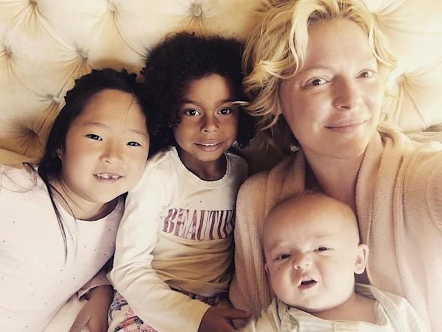 """<p>The actress loves to wake up with her three kids: Naleigh, Adelaide, and Joshua. """"My morning snuggle buddies!"""" she captioned the cute pic. """"My favorite time of day! (Photo: <a href=""""https://www.instagram.com/p/BT4IN7ejmS7/"""" rel=""""nofollow noopener"""" target=""""_blank"""" data-ylk=""""slk:Katherine Heigl via Instagram"""" class=""""link rapid-noclick-resp"""">Katherine Heigl via Instagram</a>) </p>"""