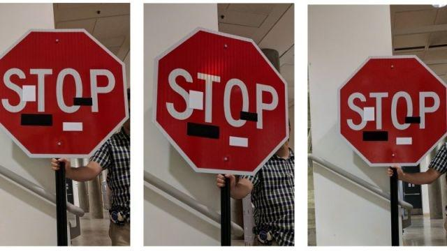 The team came up with four ways to con the recognition systems of driverless vehicles into misreading things using just a color printer and a camera. Seen here is a stop-sign hack