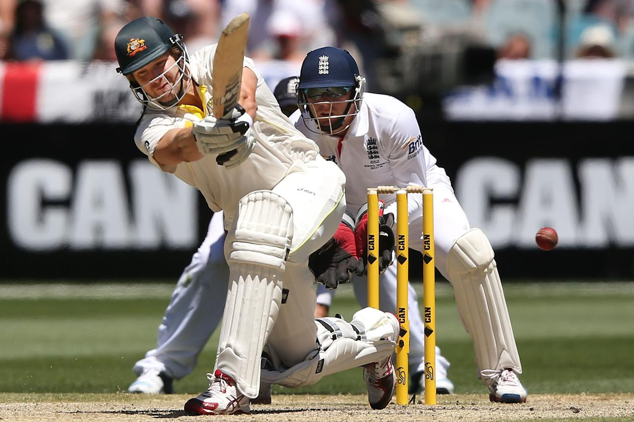 MELBOURNE, AUSTRALIA - DECEMBER 29:  Shane Watson hits the winning runs during day four of the Fourth Ashes Test Match between Australia and England at Melbourne Cricket Ground on December 29, 2013 in Melbourne, Australia.  (Photo by Michael Dodge/Getty Images)