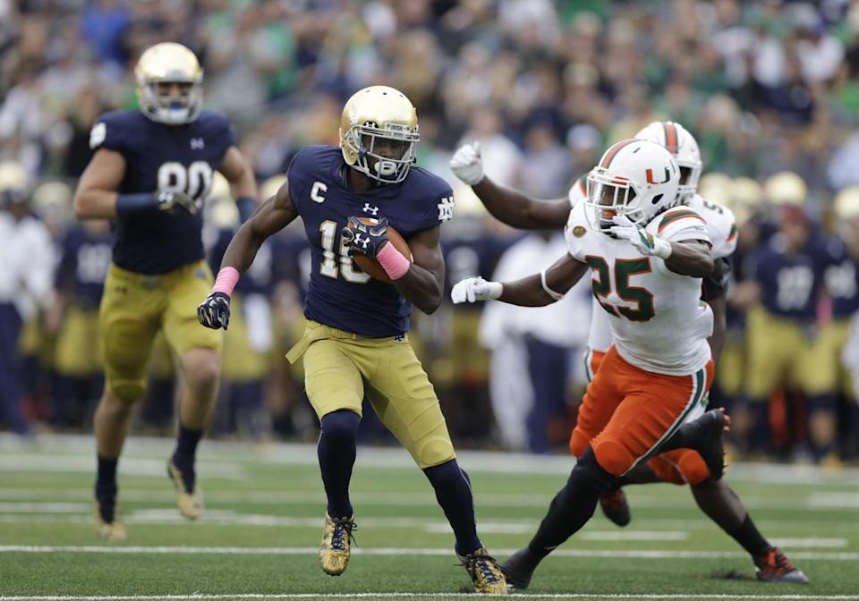 Notre Dame 's Torii Hunter Jr. had 38 catches for 521 yards and three touchdowns this season. (AP Photo/Darron Cummings)