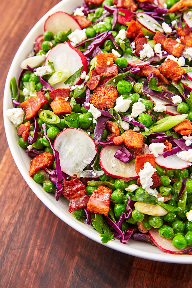 "<p>Feta, bacon, radishes, AND peas? This salad is a showstopper.</p><p>Get the recipe from <a href=""https://www.delish.com/cooking/recipe-ideas/a27243978/pea-salad-recipe/"" target=""_blank"">Delish</a>.</p>"
