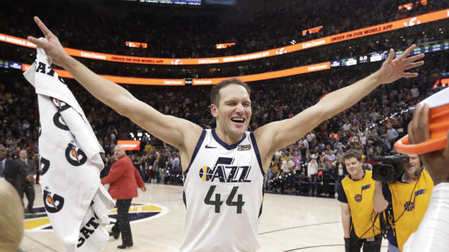 Utah Jazz forward Bojan Bogdanovic (44) celebrates after scoring the winning shot in the team's NBA basketball game against the Milwaukee Bucks on Friday, Nov. 8, 2019, in Salt Lake City. (AP Photo/Rick Bowmer)