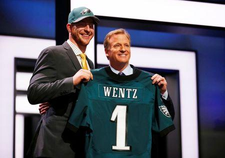 Apr 28, 2016; Chicago, IL, USA; Carson Wentz (North Dakota State) with NFL commissioner Roger Goodell after being selected by the Philadelphia Eagles as the number one overall pick in the first round of the 2016 NFL Draft at Auditorium Theatre. Kamil Krzaczynski-USA TODAY Sports