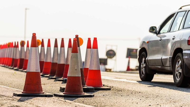 Set of roadworks cones on UK motorway