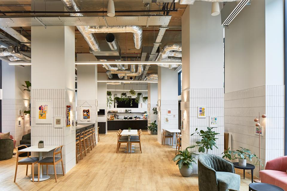 The Collective Canary Wharf lobby cafe is featured in this photo.