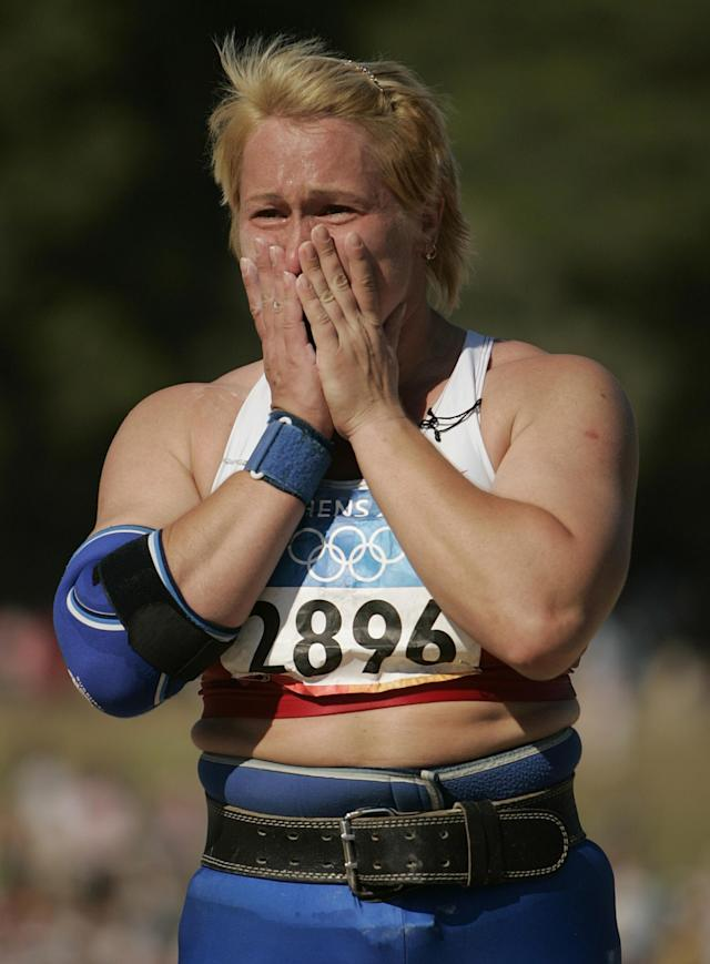 Russian thrower Irina Korzhanenko won the gold medal in the shot put at the 2004 Athens Games, but she later tested positive for an anabolic steroid and received a lifetime ban from the IAAF, track and field's international governing body. Korzhanenko has maintained her innocence, however, and to date she has not returned the gold medal. (AP Photo/Julie Jacobson)