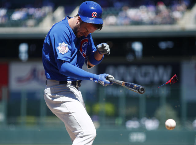 Kris Bryant was hit in the head with a 96 mph fastball Sunday. (AP Photo/David Zalubowski)
