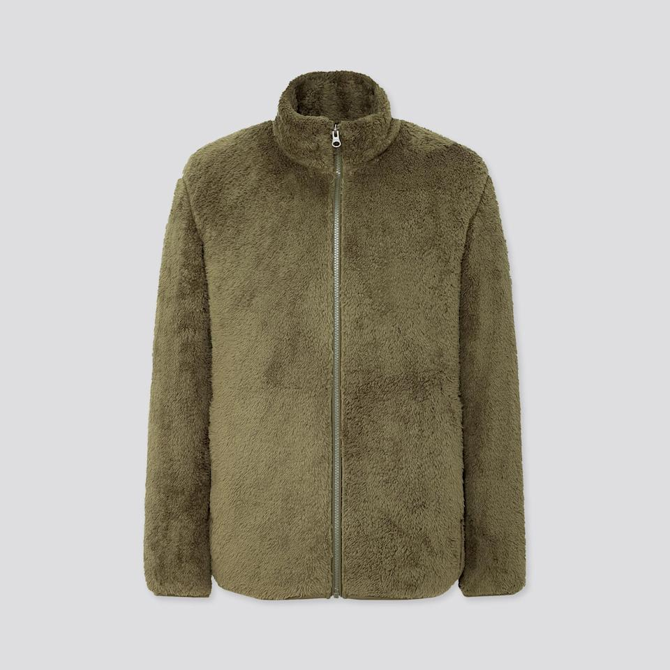 "Available in olive, off-white, wine, and more, this fluffy fleece will bring relaxed sophistication to any man's fall and winter wardrobe. $30, Uniqlo. <a href=""https://www.uniqlo.com/us/en/men-fluffy-yarn-fleece-full-zip-jacket-418712.html"" rel=""nofollow noopener"" target=""_blank"" data-ylk=""slk:Get it now!"" class=""link rapid-noclick-resp"">Get it now!</a>"