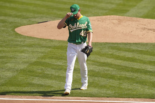Oakland Athletics' Chris Bassitt walks off the mound after retiring the Chicago White Sox during the second inning of Game 2 of an American League wild-card baseball series Wednesday, Sept. 30, 2020, in Oakland, Calif. (AP Photo/Eric Risberg)