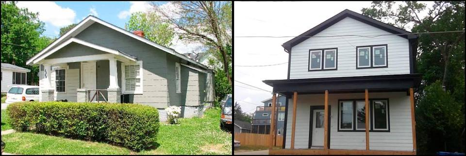 Photos of the home at 1501 E. Jones Street on April 20, 2007, left, and May 24, 2021.