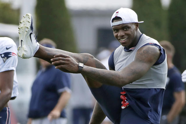 Receiver Josh Gordon, shown here practicing with the New England Patriots in August, is happy to be with the Seattle Seahawks. (AP/Elise Amendola)