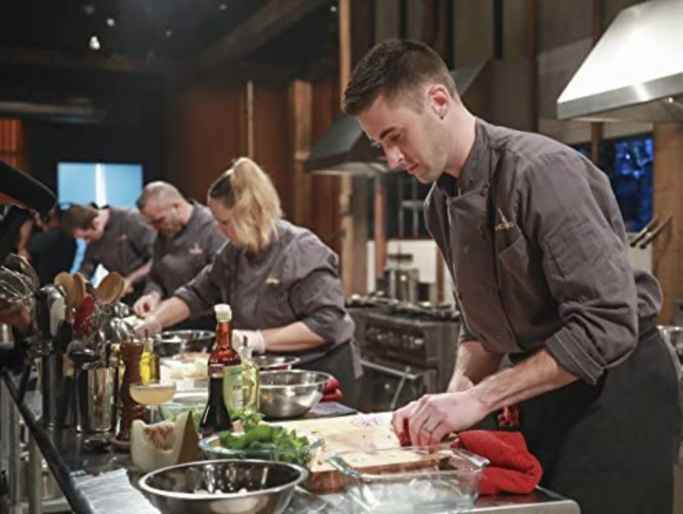 """<p>The show's judges check out each workstation after a round is completed. """"They're looking to see how clean we are, they make sure we flipped the cutting board if we used it after having raw meat on it, that kind of thing,"""" Josh Lewis told <a href=""""https://tv.avclub.com/what-it-s-like-to-compete-in-the-chopped-kitchen-1798277081"""" rel=""""nofollow noopener"""" target=""""_blank"""" data-ylk=""""slk:The A.V. Club"""" class=""""link rapid-noclick-resp"""">The A.V. Club</a>.</p>"""