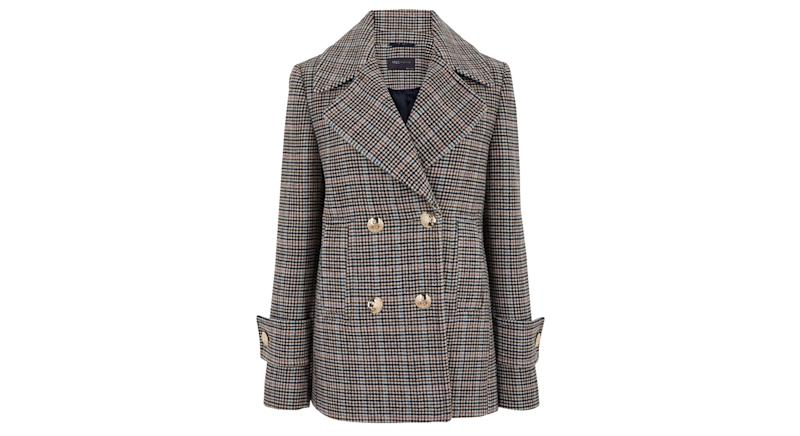 Checked Pea Coat