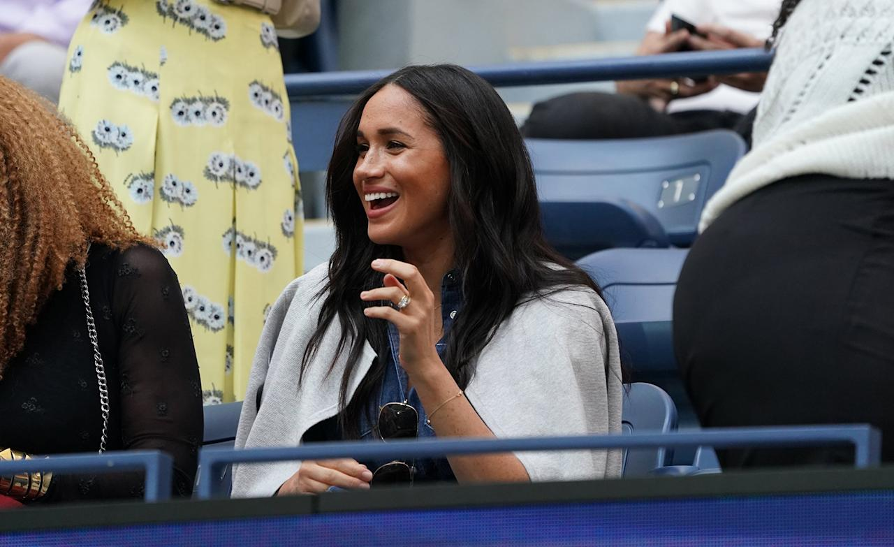 Meghan Markle was spotted looking casual and chic at the U.S. Open Finals on Saturday, one day after arriving in New York from London