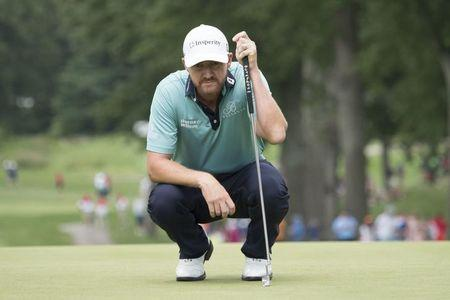 August 5, 2017; Akron, OH, USA; Jimmy Walker lines up his putt on the second hole during the third round of the WGC - Bridgestone Invitational golf tournament at Firestone Country Club - South Course. Mandatory Credit: Kyle Terada-USA TODAY Sports