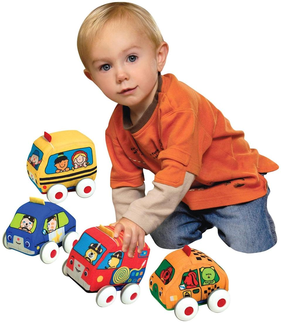 <p>A quartet of <span>Melissa &amp; Doug K's Kids Pull-Back Vehicles</span> ($18) feature pull-back functionality, making baby's first automotive toys as safe as they are entertaining. </p>