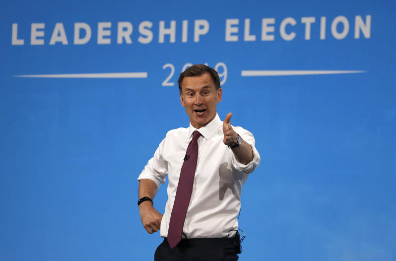Conservative party leadership candidate Jeremy Hunt delivers his speech during a Conservative leadership hustings at ExCel Centre in London, Wednesday, July 17, 2019. The two contenders, Jeremy Hunt and Boris Johnson are competing for votes from party members, with the winner replacing Prime Minister Theresa May as party leader and Prime Minister of Britain's ruling Conservative Party. (AP Photo/Frank Augstein)