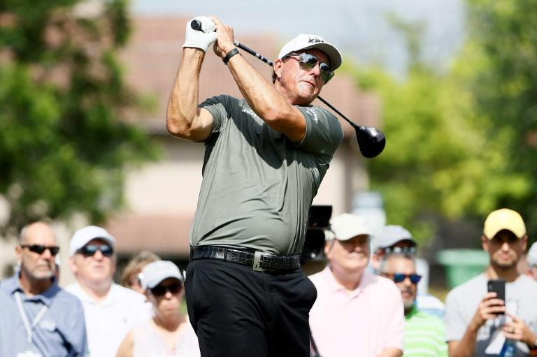Phil Mickelson, the newly crowned PGA Champion, on the way to a three-over 73 in the first round of the US PGA Tour tournament at Colonial Country Club in Fort Worth, Texas