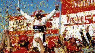 Dale Earnhardt celebrates his 76th and final Cup win at Talladega in 2000. Photo: Getty Images.