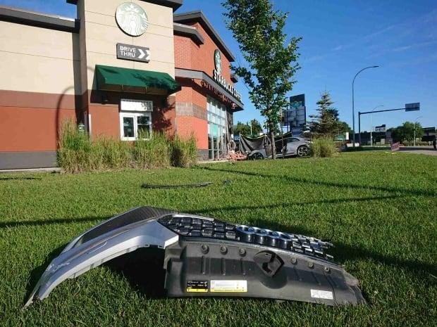 Police were called to Calgary Trail and 55th Avenue around 2:20 a.m. on July 3, 2020, after the Audi struck a wall of the Starbucks. (Art Raham/CBC - image credit)