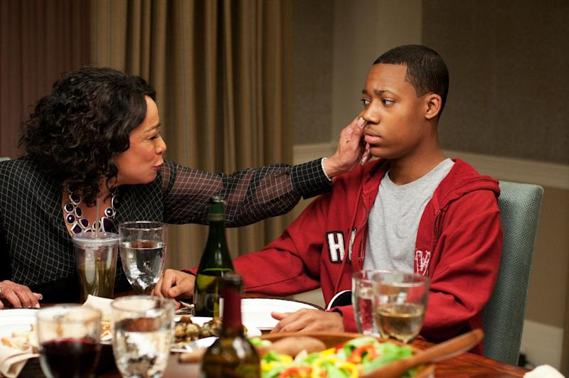 """This undated publicity photo released by Lionsgate shows, S. Epatha Merkerson, left, as Daphne Peeples and Tyler James Williams as Simon Peeples in a scene from the film, Tyler Perry Presents """"Peeples."""" (AP Photo/Lionsgate, Nicole Rivelli)"""