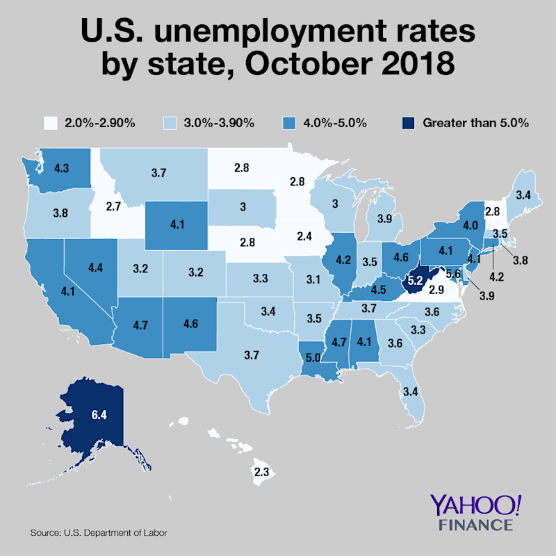 U.S. unemployment rates by state: map
